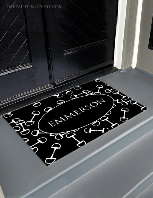 Black and White Horse Bits Equestrian Door Mat