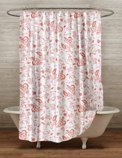 Country Floral Horses Shower Curtain
