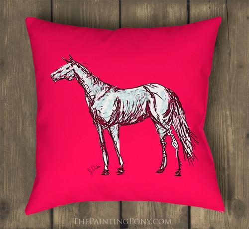 Pink Abstract Horse Art Pillow