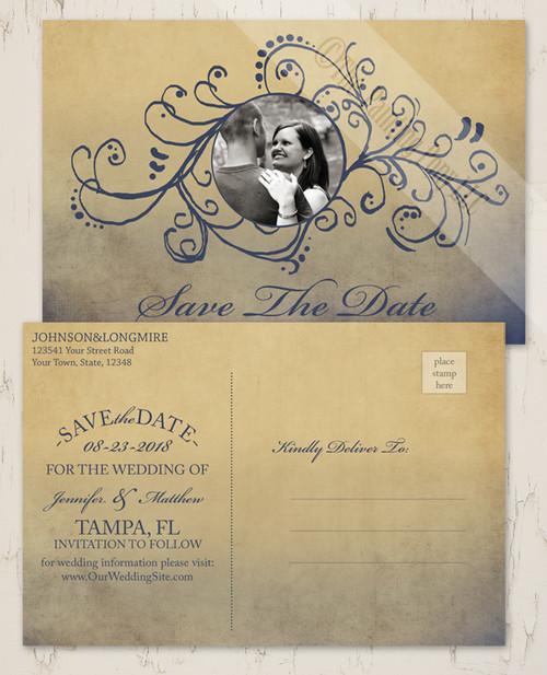 Bohemian Wedding Photo Save The Date Postcards
