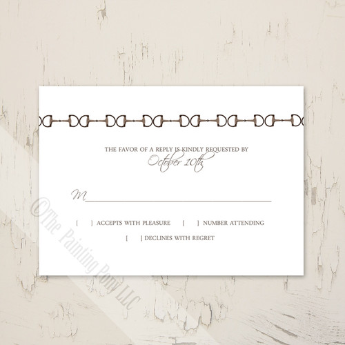 Country Horse Farm Wedding RSVP card