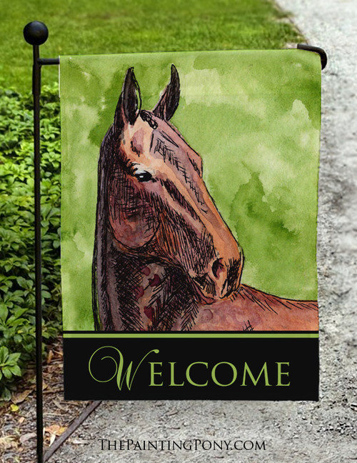 Bay Horse Head Art Welcome Sign Garden Flag