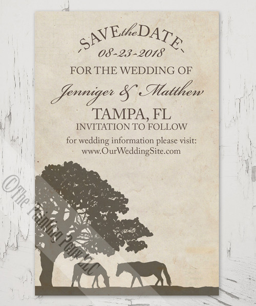 Vintage Horse Farm Save The Date Postcards