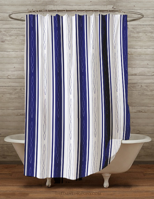 Fancy Stitch Pattern Equestrian Themed Shower Curtain