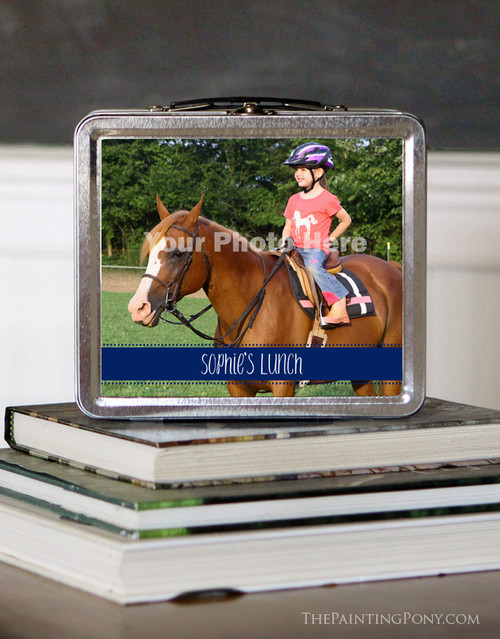 Personalized Horse Photo Equestrian Lunch Box The