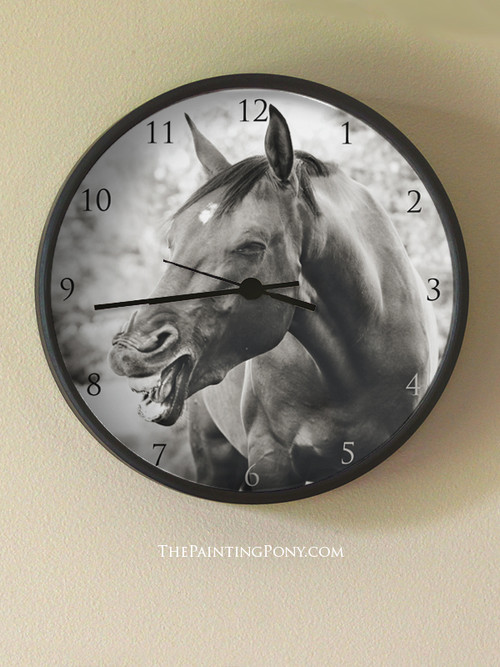 Funny Laughing Horse Equestrian Wall Clock The Painting Pony