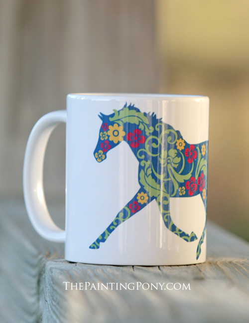 Trotting Floral Patterned Horse Coffee Mug The Painting Pony