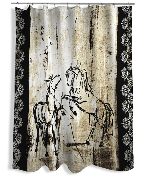 Western Themed Bath Rugs: Rustic Rearing Horses Shower Curtain