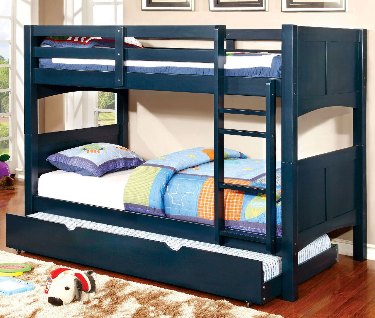 Palette Blue Twin Over Twin Trundle Bunk Bed Cb Furniture