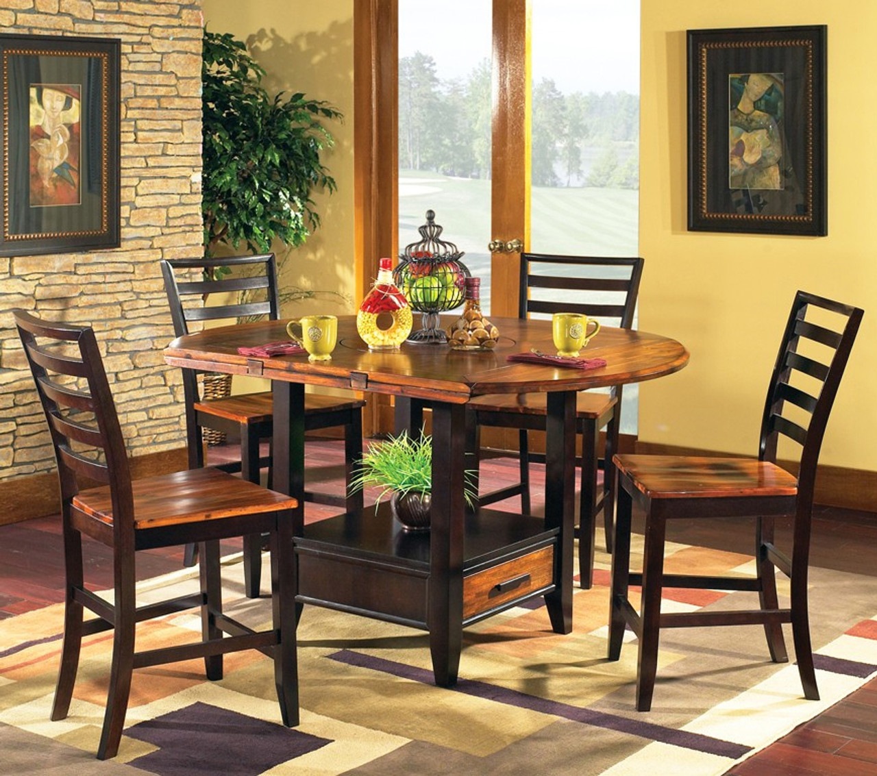 denver 5 piece counter height set with lazy susan cb furniture