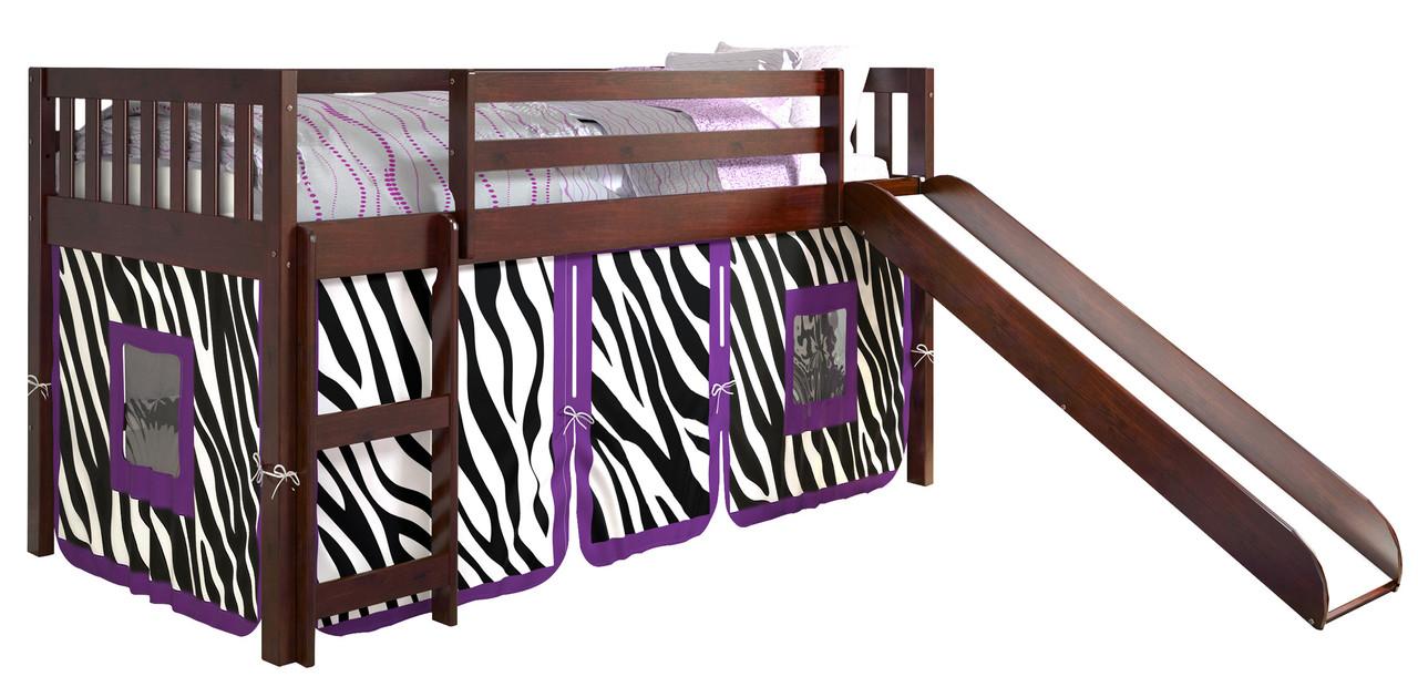 Benton Cappuccino Twin Loft With Slide Zebra Tent Cb Furniture