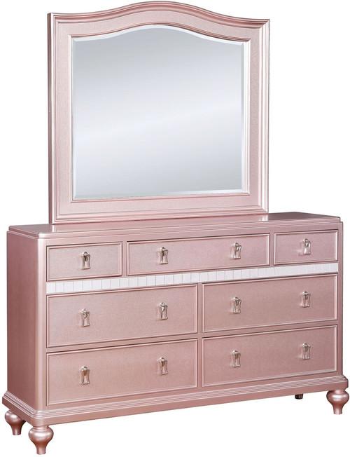 Aubriana Rose Gold Dresser & Mirror