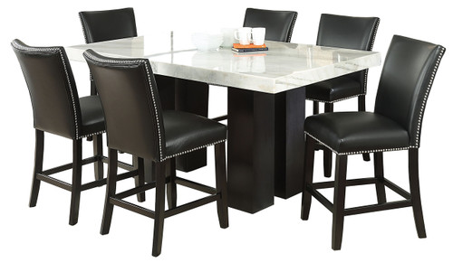 Valery Marble 7-PC Black Counter Height Set
