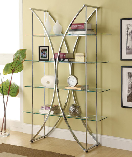 Contemporary metal shelf with floating style glass in a beautiful chrome finish.
