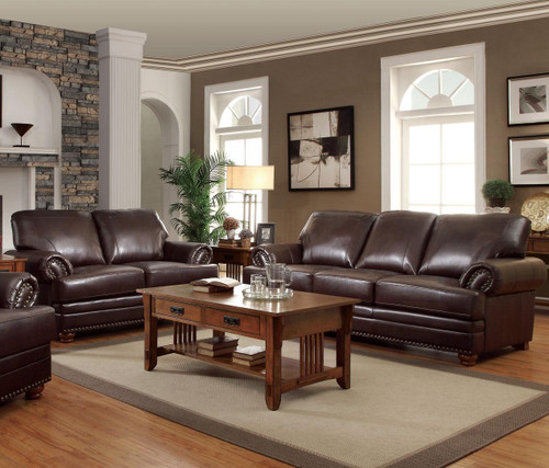 Royce Brown Leather Sofa & Loveseat