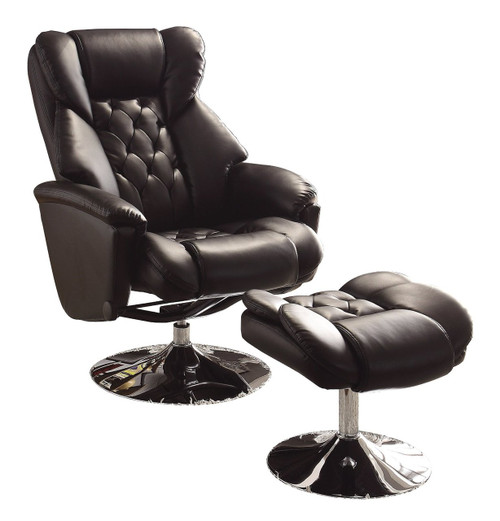 Basel Black Leather Swivel Reclining Chair W/Ottoman ...