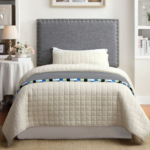 Abner Gray Twin Fabric Headboard