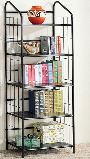 Black Metal 5-Tier Bookcase