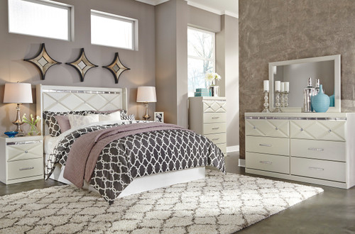 Rizvon Champagne Headboard Bedroom Set