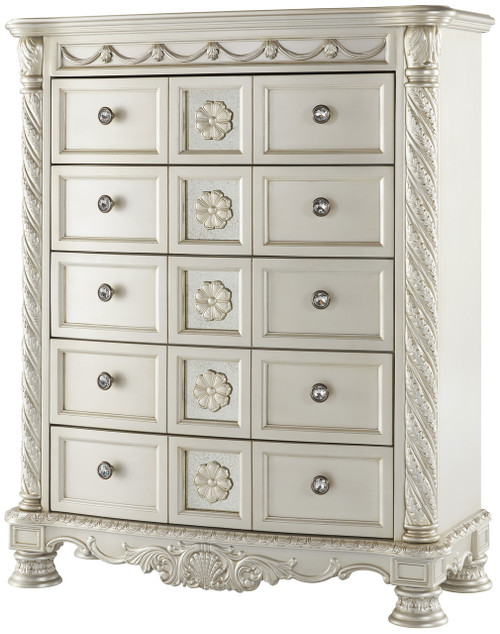 Alexandria Pearl Silver 5 Drawer Chest