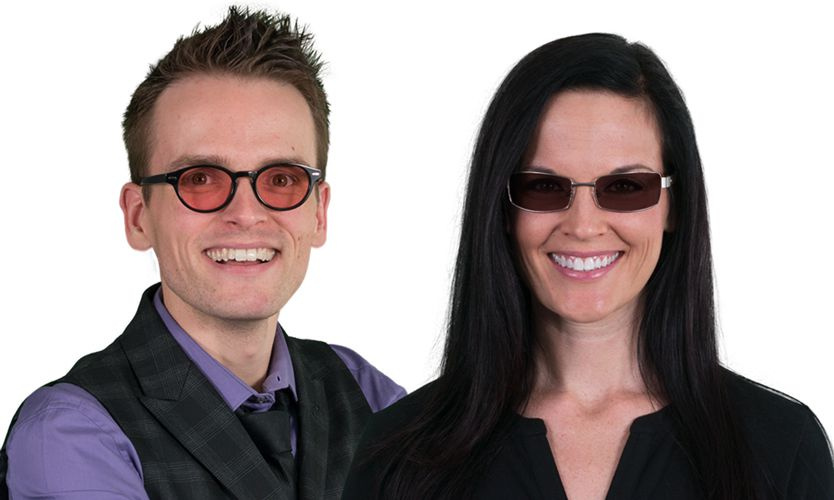 Man and Woman wearing FL-41 Tint on Glasses