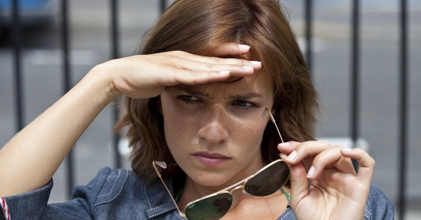 Woman with ADHD light sensitivity, photophobia