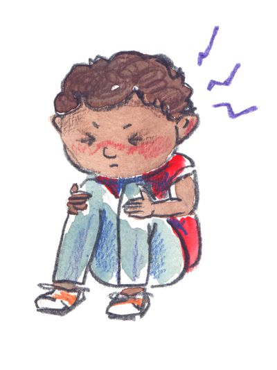 Young child with migraine illustration