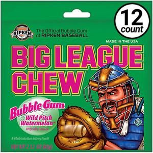 Big League Chew, Bubble Gum, Wild Pitch Watermelon, 2.12 oz. Bag (12 Count)