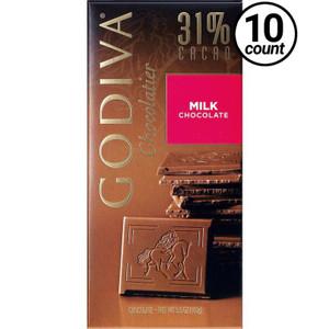 Godiva, Milk Chocolate 31% cacao, 3.5 oz. Bar (10 Count)