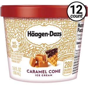 Haagen-Dazs, Caramel Cone Ice Cream, 3.6 oz. Mini-Cup (12 Count)
