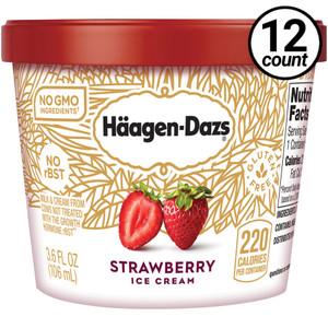 Haagen-Dazs, Strawberry Ice Cream, 3.6 oz. Mini-Cup (12 Count)