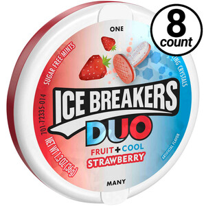 Ice Breakers Duo Fruit plus Cool, Sugar Free Strawberry 1.3 oz. (8 Count)