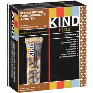 KIND PLUS, Peanut Butter Dark Chocolate + Protein, 1.4 oz. Bars (12 Count)