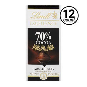 Lindt Excellence, Smooth Dark Chocolate 70% Cocoa, 3.5 oz. Bars ( 12 Count)