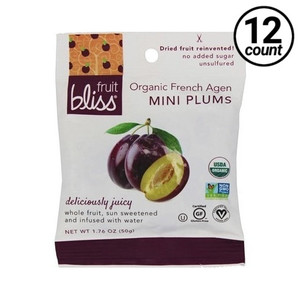 Fruit Bliss Organic Mini French Agen Plums Dried, 1.76 oz. (12 Count)