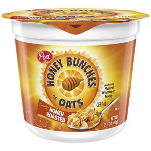 Post, Honey Bunches of Oats Honey Toasted, 2.1 oz. cup (1 Count)