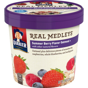 Quaker Real Medleys, Summer Berry Oatmeal +, 2.64 oz. Cup (1 Count)