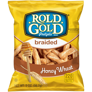 Rold Gold Pretzels, Honey Wheat Braided Pretzel Twists, 2.0 oz. Bag (1 Count)
