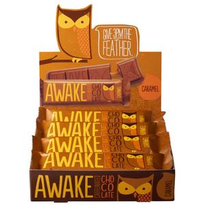 Awake Chocolate, Caffinated Chocolate Bar Caramel, 1.55 oz. Bar (12 Count)