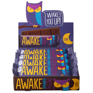 Awake Chocolate, Caffinated Chocolate Bar Dark Chocolate, 1.34 oz. Bar (12 Count)