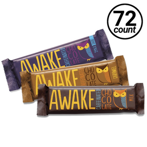 Awake Chocolate, Caffeinated Chocolate 3-Tier Counter Top Display, Milk, Dark & Caramel 1.55 oz. (72 Count, 24 each flavor)