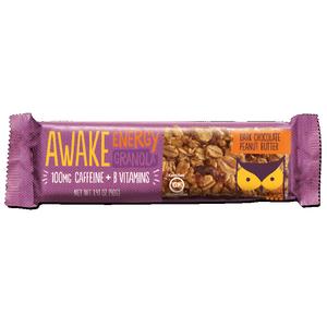 Awake Chocolate, Energy Granola Bars, Dark Chocolate Peanut Butter, 1.41 oz. (16 Count)