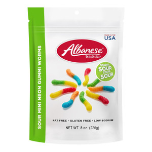 Albanese, 12 Flavor Sour Mini Neon Gummi Worms, 8.0 oz. Bag (1 Count)