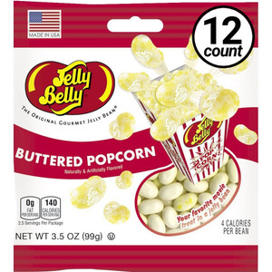 Jelly Belly, Buttered Popcorn, 3.5 oz. Bag (12 Count)