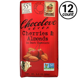 Chocolove, Cherries & Almonds in Dark Chocolate 55% Cocoa, 3.2 oz. Bars (12 Count)