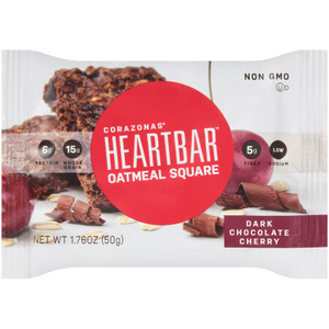 Corazonas, Oatmeal Square, Dark Chocolate Cherry, 1.76 oz. bar (12 Count Case)
