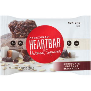 Corazonas, Oatmeal Square, Chocolate Coconut Macaroon, 1.76 oz. bar (12 Count Case)