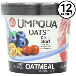 Umpqua Oats All Natural Oatmeal, Kick Start, Almonds/Cranberries & Blueberries, 2.54 Oz (12 Count)