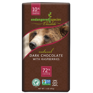 Endangered Species Chocolate All-Natural, Grizzly, Dark Chocolate with Raspberries, 72% Cocoa, 3.0 oz. Bar (12 Count)