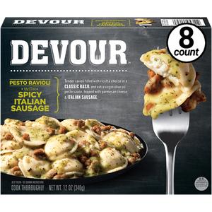 Devour Pesto Ravioli w/Spicy Italian Sausage, 12 Oz (8 Count)